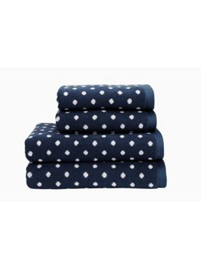 Christy Georgia navy spotty towels
