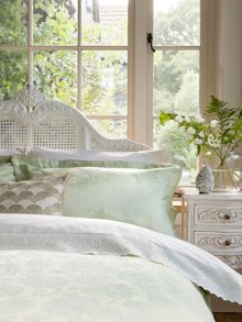 Cliveden bed linen in spring green