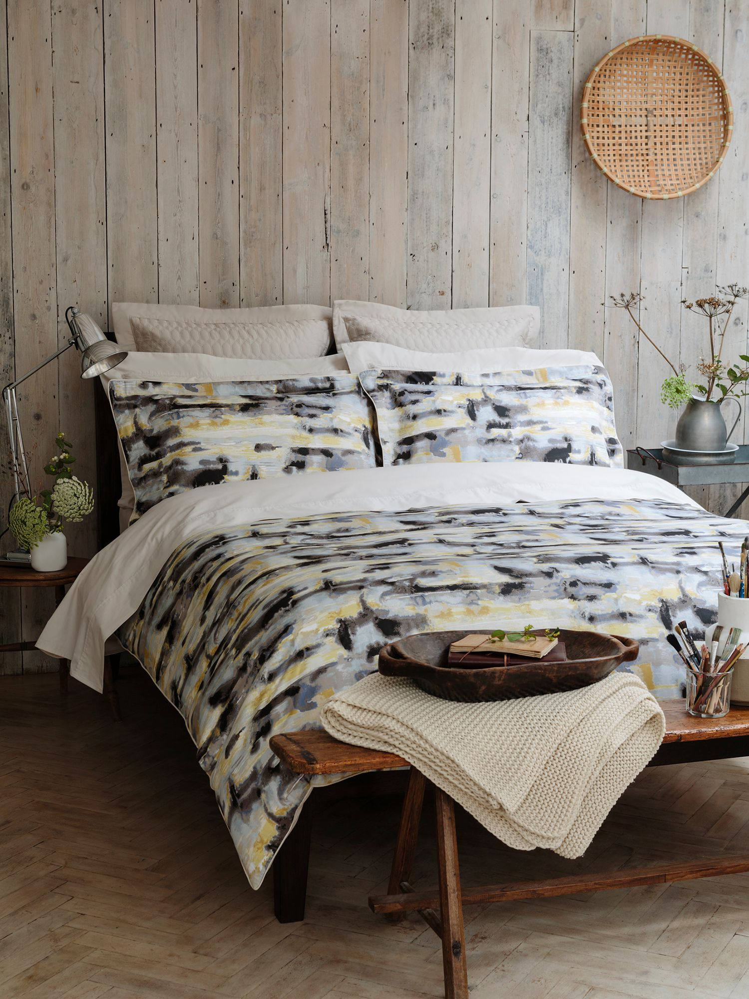 Watercolour king duvet zinc grey