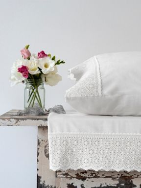 Christy Chloe white lace cuff bed linen