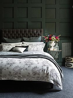 Etched Peony Double Duvet Pewter