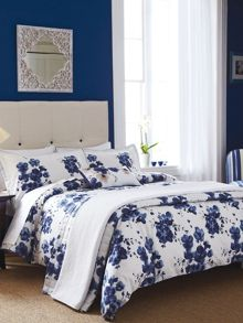Sanderson Mandarin flowers bed linen in indigo