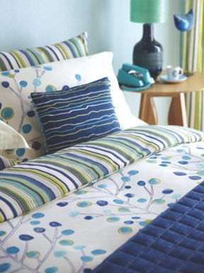 Scion Berry tree bed linen in blue lagoon