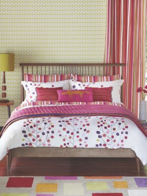 Scion Berry tree bed linen in berry red