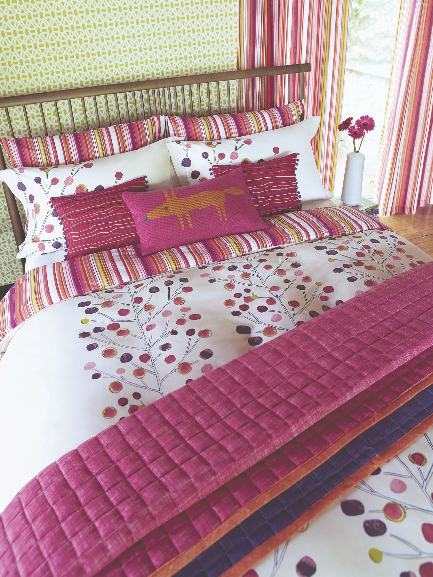 Berry tree bed linen in berry red