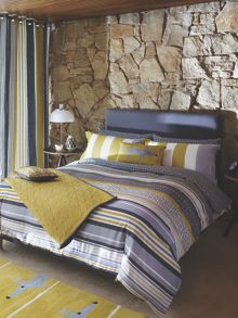 Lace stripe slate black bed linen range