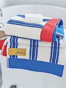 Bath stripe towel range in blue