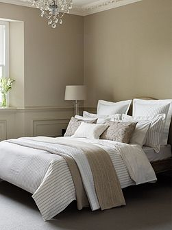 Ellis stripe double duvet cover linen