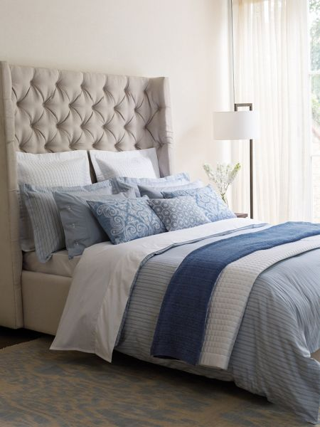 Fable Darcy stripe king duvet cover sky blue