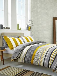 Scion Lace Stripe bed linen range in Slate