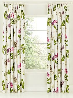 Sanderson Capuchins lined curtain 66x72 in berry