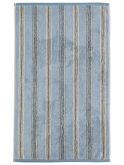Brecon stripe guest towel blue