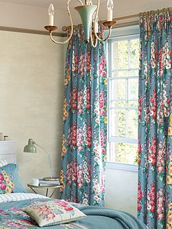 Hollyhocks curtains 66x72 petrol blue