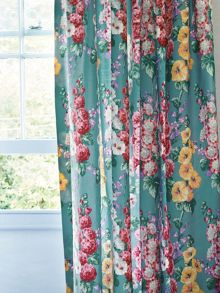 Sanderson Hollyhocks curtain range in petrol blue