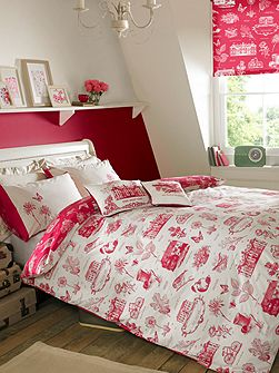 Harriet double quilt cover raspberry