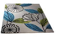 Fifties Floral Wool Rug Teal Range