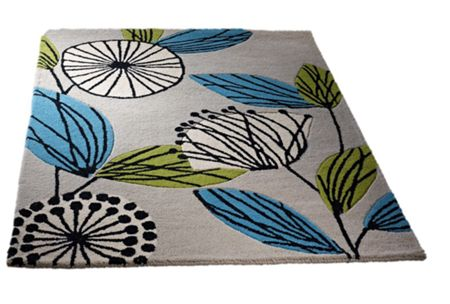 Origin Rugs Fifties Floral Wool Rug Teal 120X170