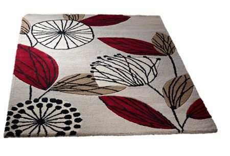 Origin Rugs Fifties Floral Wool Rug Red 120x170