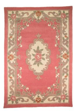 Flair Rugs Aubusson Pink Wool Rug Range