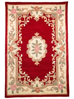 Aubusson red round rug 120x180