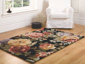 Flair Rugs Faith black floral vintage rug range