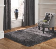 Pearl dark grey shaggy rug range