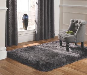 Flair Rugs Pearl dark grey shaggy rug range