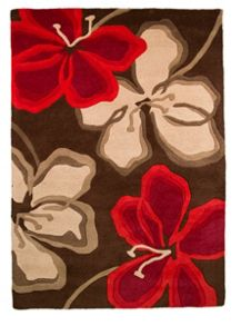 Passion red & brown floral rug range
