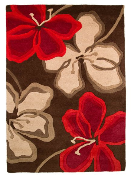 Flair Rugs Passion Flower Choc/Red Rug 120X170
