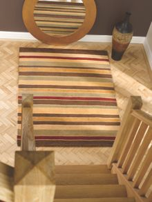 Grain Natural & Red Stripe rug range