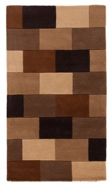 Flair Rugs Elm Brown Blocks Wool Rug Range