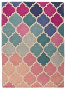 Flair Rugs Rosella Pink and Blue Wool Rug Range