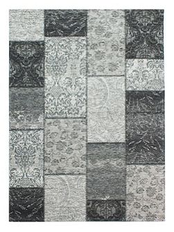 Chenille black and grey rug 120x170