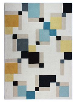 Abstract blue and ochre rug 120x170cm