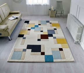 Flair Rugs Abstract Blue and Ochre Wool Rug Range