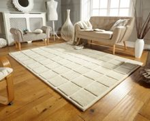 Flair Rugs Textured Blocks Ivory Wool Rug Range
