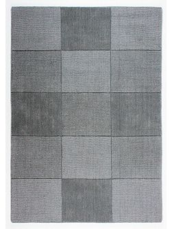 Wool squares light grey rug 110x160cm