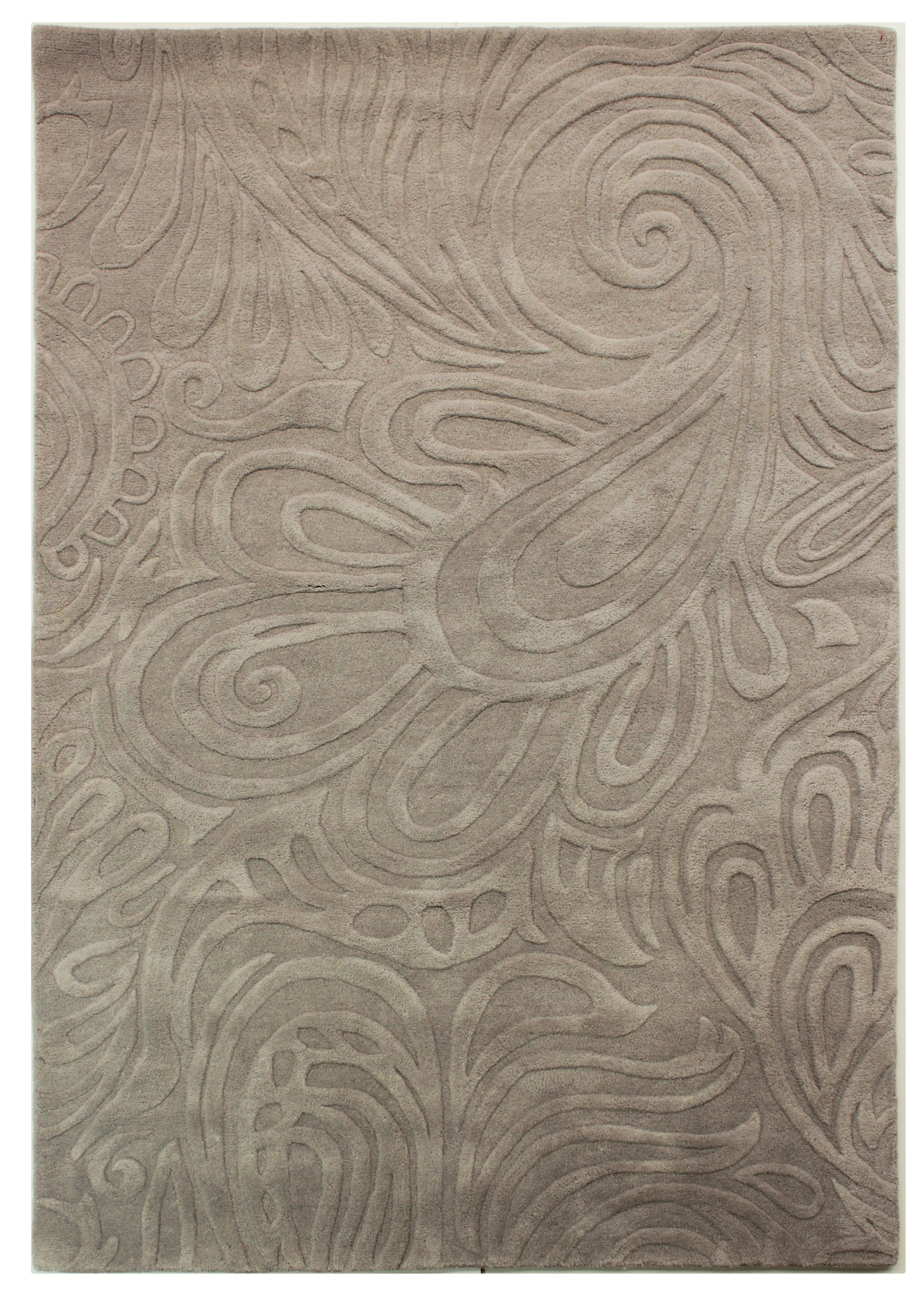 Flair Rugs Flair Rugs Carved paisley grey rug 120x170cm