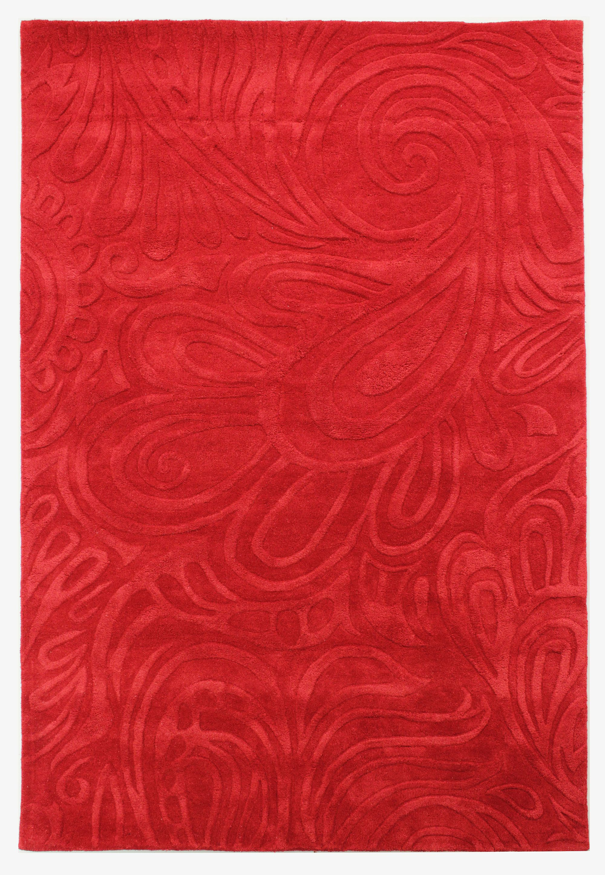 Flair Rugs Flair Rugs Carved paisley red rug 160x230cm