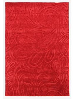 Carved paisley red rug 120x170cm
