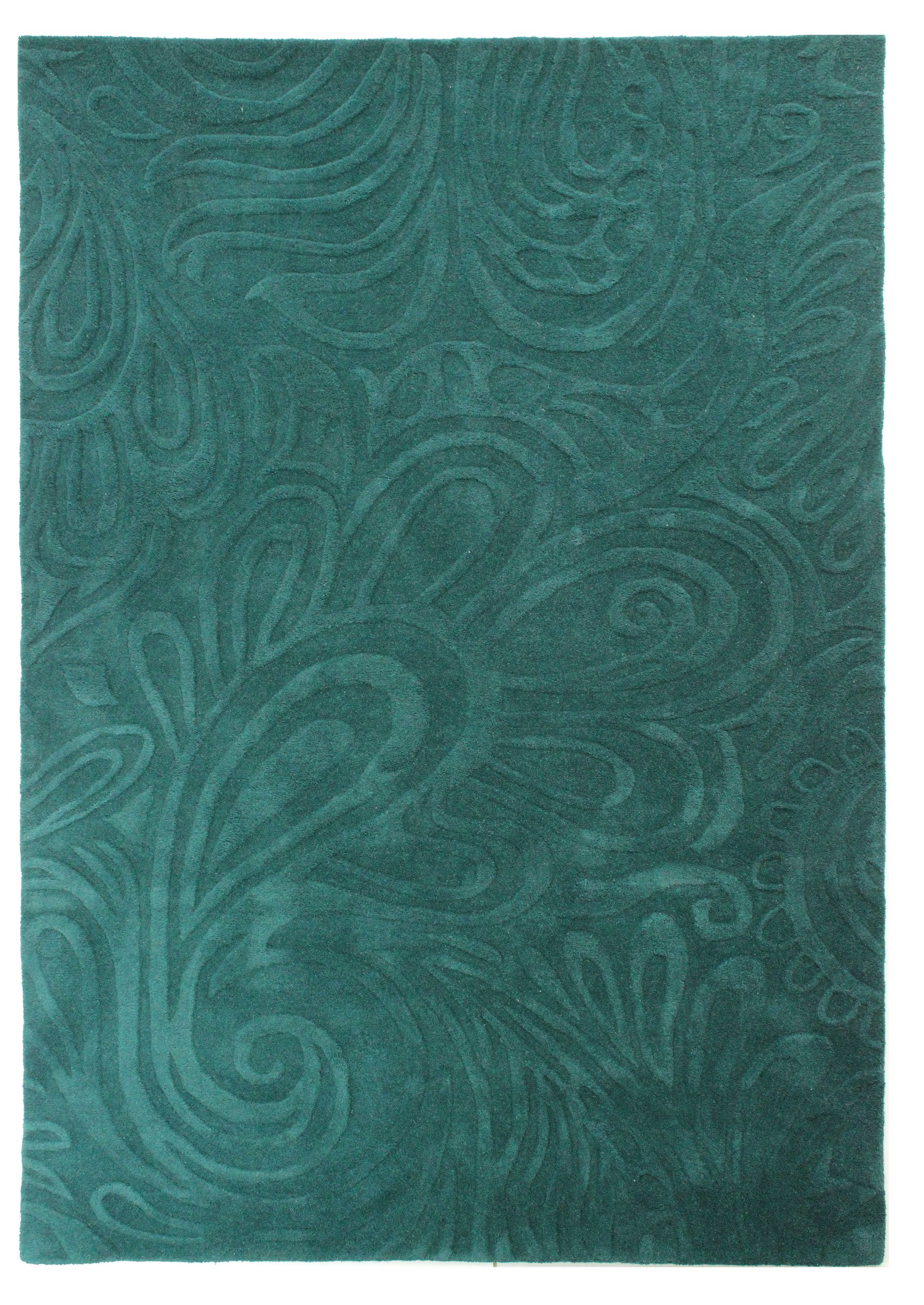 Flair Rugs Flair Rugs Carved paisley teal rug 80x150cm