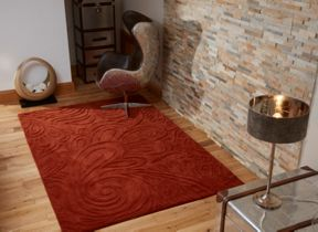 Flair Rugs Carved paisley terracotta rug range