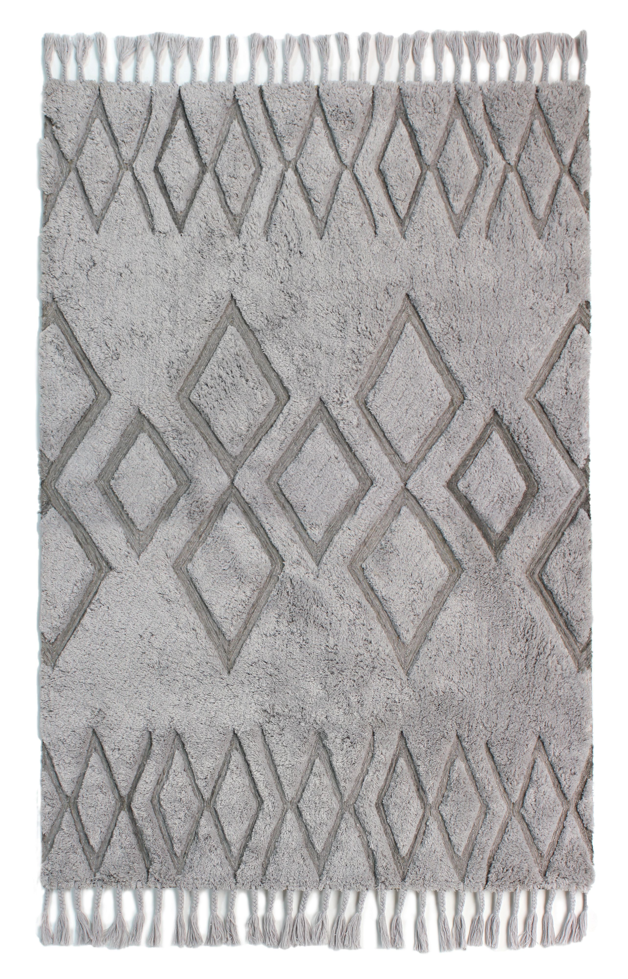 Click to view product details and reviews for Flair Rugs Daria Grey Wool Tassle Rug 120x170cm Grey.