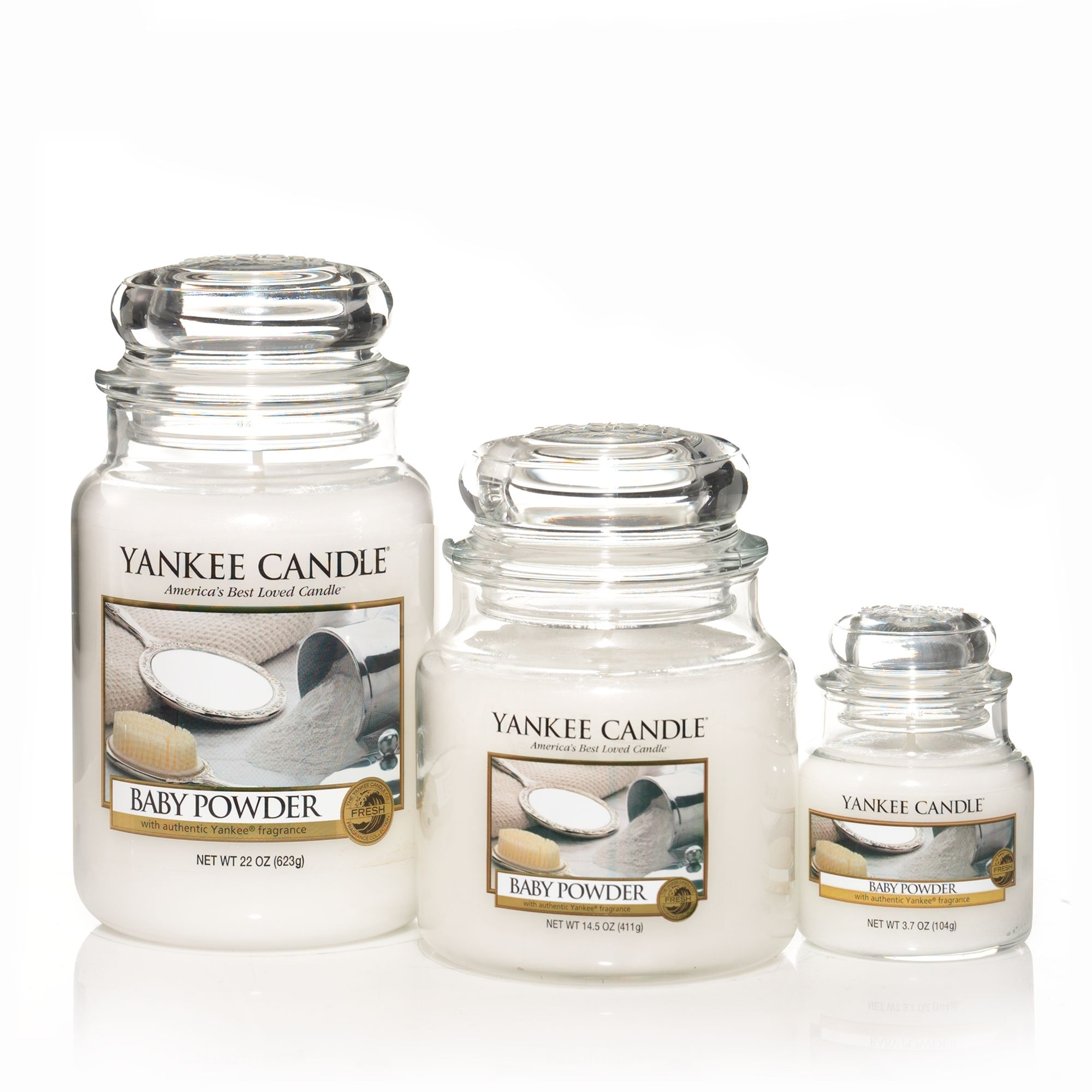 Baby powder scented candles
