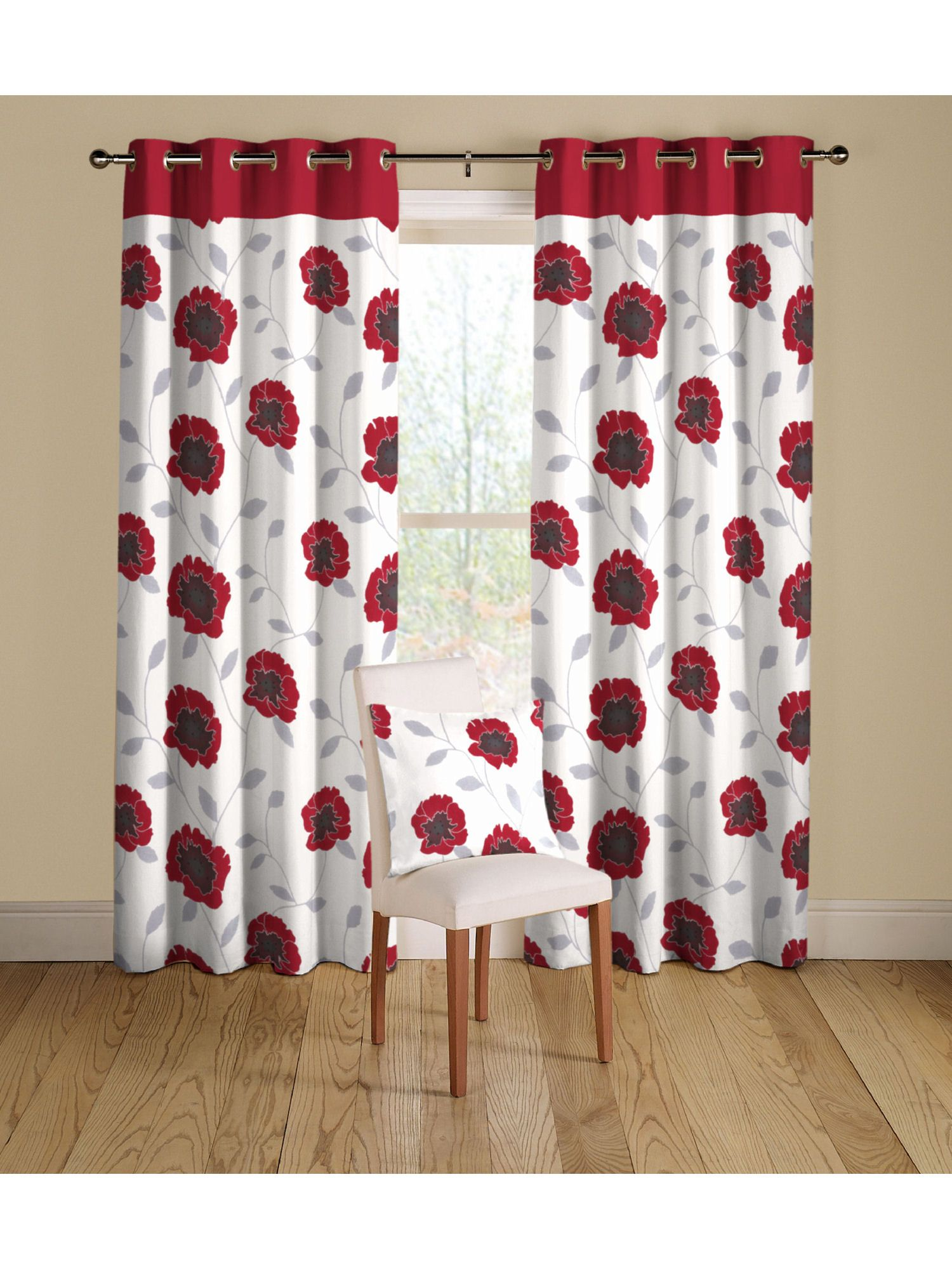 Rectella poppy curtains in red