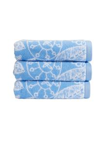 Christy Secret garden towel range in cornflower