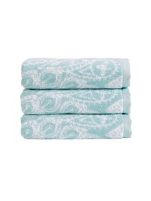 Christy Secret garden towel range in Aqua