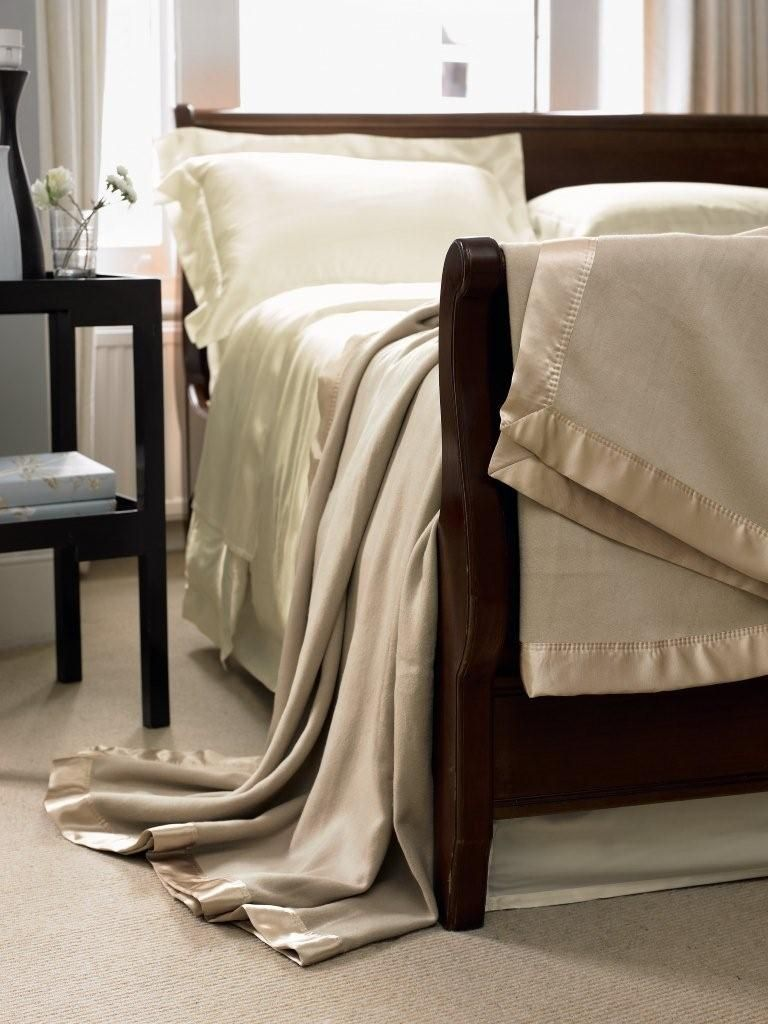 Silk blanket range in biscuit beige