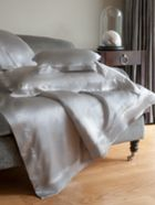 Silk bed linen in silver grey