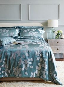 Leaves aqua silk bed linen